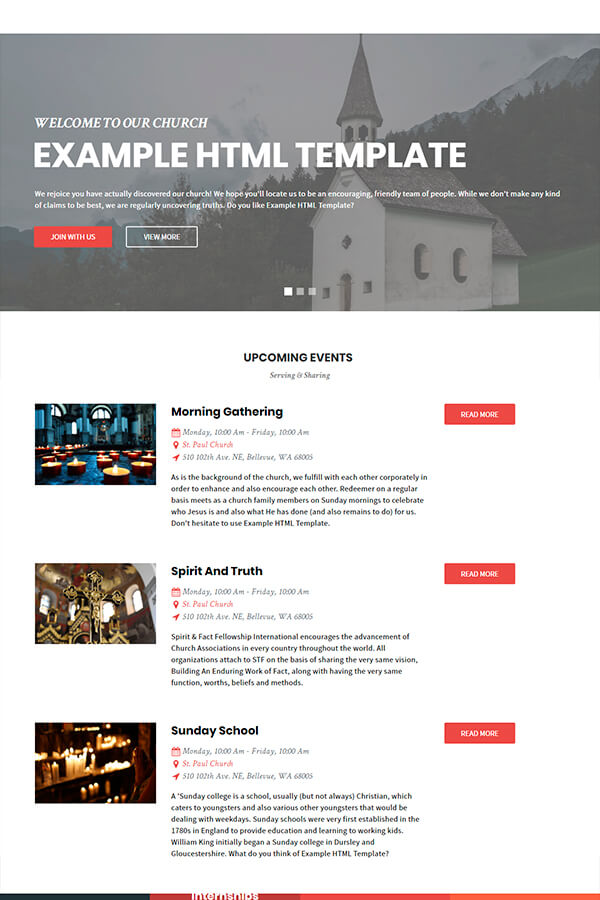 Church Example HTML Template