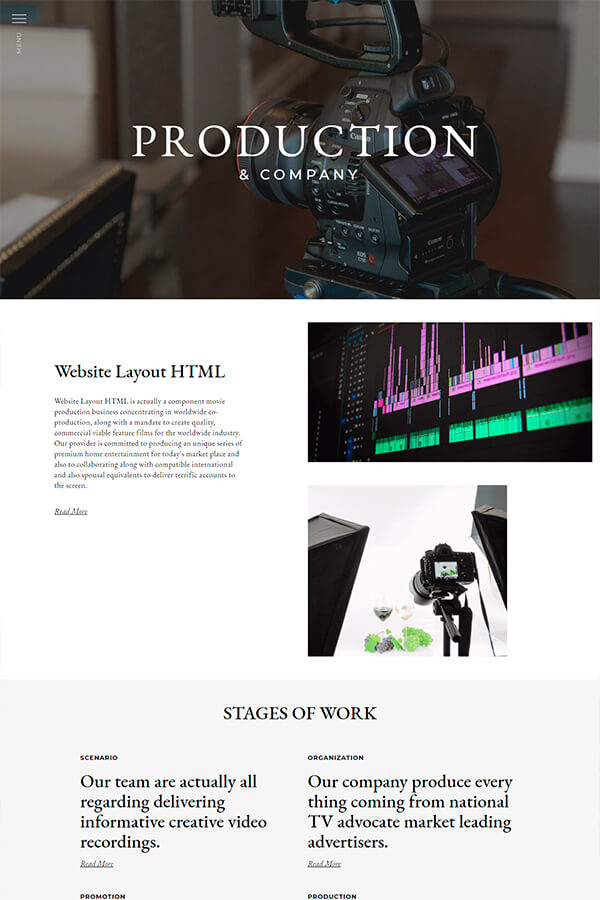 Production Website Layout