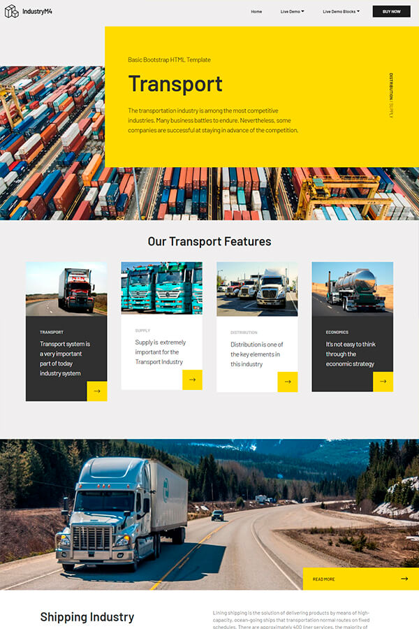 Transport Bootstrap HTML Template