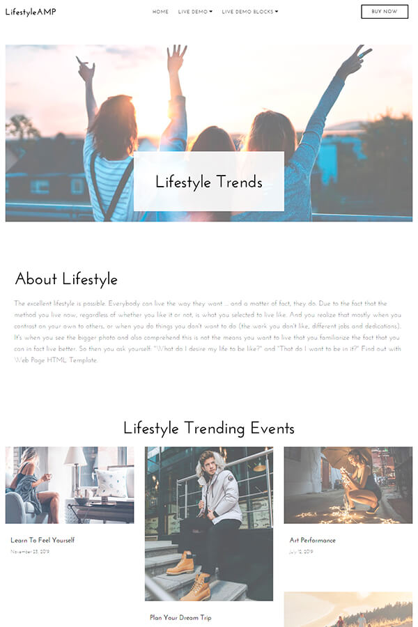 Lifestyle HTML Page Template