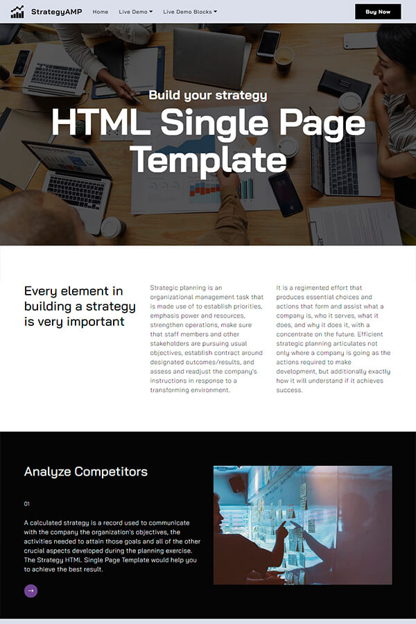 Planning Single Page Template