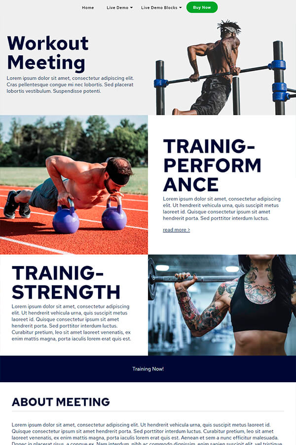 Workout Meeting Website Template